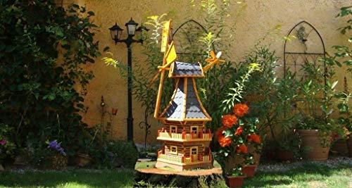 Holz-Windmühle XXL, wetterfest,robust mit Bitumen, MIT WINDFAHNE Windrad-Seitenruder, Windmühlen Garten, imprägniert + kugelgelagert 1,60 m groß DOPPELSTÖCKIG 2-stöckig in schwarz anthrazit dunkelgra