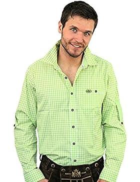 Trachtenhemd Mei Wiesn Hemd apfel, grün-weiß kariert mit Taschen, Label und Stickerei, Freizeit und Landhauslook