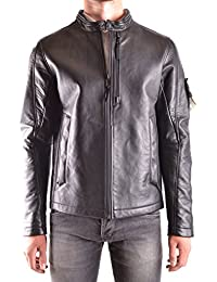 Stone Island Men's MCBI284047O Black Leather Outerwear Jacket