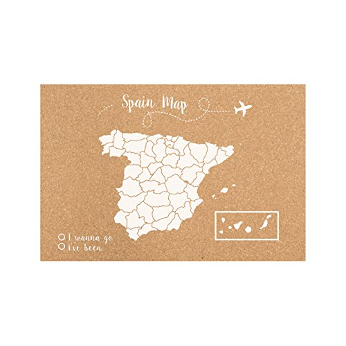 Decowood Handmade Accessory Mapa de España Pequeño, Corcho, Blanco, 60x45x3 cm