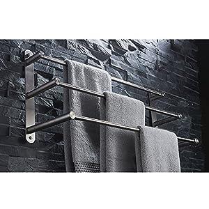 ZHEN GUO Zeitgenössische 304 Edelstahl Gebürstetes Finish 3 Handtuchhalter Wand Handtuchhalter Kleiderbügel, 60 cm Handtuchhalter Bad-Accessoires