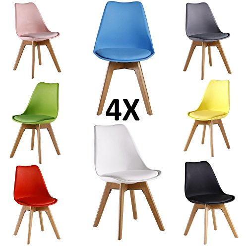 P n homewares lorenzo tulip chair plastic wood retro for Grey and black dining chairs