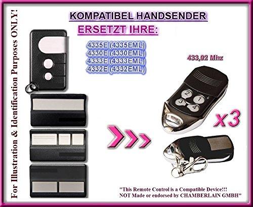 3 X Chamberlain 4330E, 4332E, 4333E, 4335E kompatibel handsender, ersatz sender, 433.92Mhz rolling code. 3 Stücke Top Qualität ersatzgeräten!!! Liftmaster Garage Door Remote Control