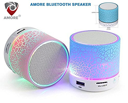 Amore Latest Wireless LED Bluetooth Speaker Compatible with Samsung, Motorola, Sony, Oneplus, HTC, Lenovo, Nokia, Asus, Lg, Coolpad, Xiaomi, Micromax and All Android Mobiles. Music Walk Wireless Led Lights Bluetooth Speaker Mp3 Player & Fm Radio Speaker Rechargeable Audio Outdoor Speaker & Car Audio Speaker MIc For Call Answering & Calling. USB Port, MIcrosd Card Slot (Assorted Colour)  available at amazon for Rs.249