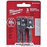 MILWAUKEE ELEC TOOL - Shockwave Socket Adapter Set, .25-In. Hex Shank, 3-Pc.