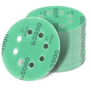 20 Stück 125 mm Exzenter Schleifscheiben P600 Körnung, 8 Loch, green Film, Haft Klett Schleifpapier