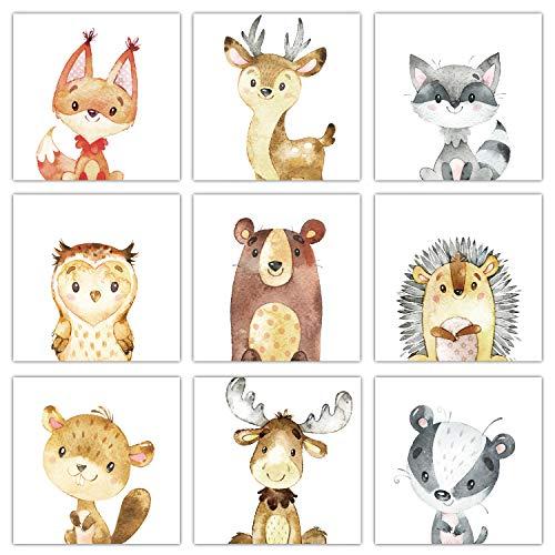 Frechdax® 3er Set Kinderzimmer Babyzimmer Poster Bilder DIN A4 | Waldtiere Portrait | Bär Fuchs REH Eule | Mädchen Junge Deko | Dekoration Kinderzimmer (9er Set 13cm x 13cm, Tiermotive)