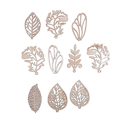 Demiawaking 10Pcs Handmade Mixed Wooden Leaves Embellishments DIY Scrapbooking Accessories Christmas Decorations Pendants Buttons Ornaments for Wedding Party Crafting Card Making