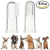 UEETEK 4pcs cane dito spazzolino da denti in Silicone igiene dentale dito pennelli per Midium piccoli grandi cani gatti e animali domestici la maggior parte