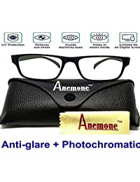4255c177b34a ANEMONE Anti Glare with UV 400 Protection Lenses for Computer Screen with  Black Transparent Rectangle Frame Men s and Women s Reading…