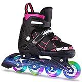 WeSkate Inline Skates Kinder/Erwachsene verstellbar mädchen/Jungen Inline Skates Rollschuhe PU Verschleißfeste Roller Skates Herren/Damen (Schwarz & Rosa, 39-42)