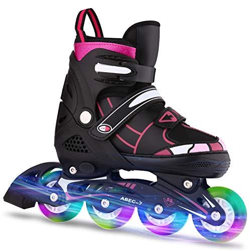 WeSkate Inline Skates Kinder/Erwachsene verstellbar mädchen/Jungen Inline Skates Rollschuhe PU Verschleißfeste Roller Skates Herren/Damen (Rosa, 35-38)