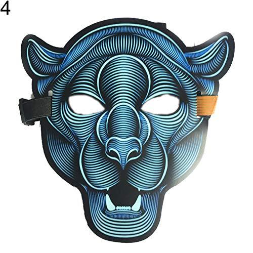 Renendi Halloween-Requisiten für das ganze Gesicht, mit Sound reaktiv, LED-Licht, Gruselmaske, Maskenball, Cosplay, Festival, Kostüm, Zubehör für Tanz, Rave Party, Ethylenvinylacetat, - Tanz Kostüm Der Narren