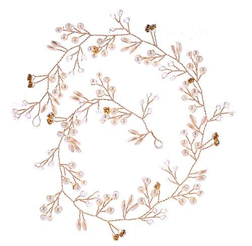 Elegant Brautschmuck,MoreChioce Vintange Fraun Stirnbänder Perle Kristall Haare Zubehör Damen Strassbesatz Kopfschmuck Lang Strass Haarschmuck,50 CM,Gold,EINWEG