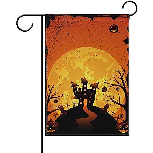 HujuTM Halloween Creepy Castle and Pumpkins Polyester Garden Flag House Banner 12 x 18 inch, Two Sided Welcome Yard Decoration Flag for Wedding Party Home Decor