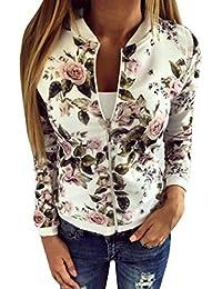 ❤️Manteau Veste Blouson Femme, Amlaiworld Manteau de Printemps Femmes Fleur  Imprimé Zippée Jacket Manteau 496050b4e377