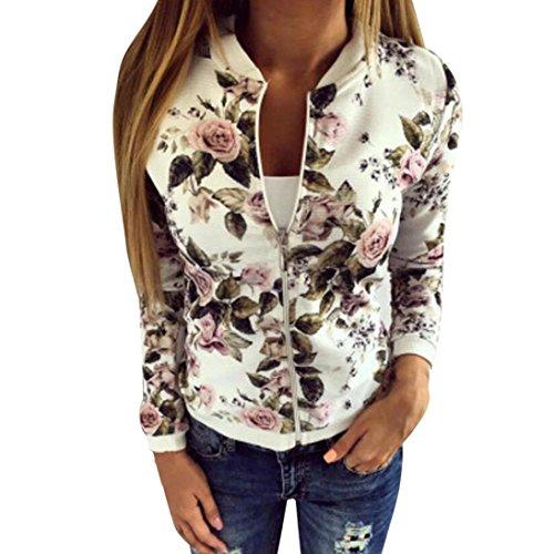️Manteau Veste Blouson Femme, Amlaiworld Manteau de Printemps Femmes Fleur Imprimé Zippée Jacket Manteau de Baseball Cover Up Cardigan Kimono (M, Bla...