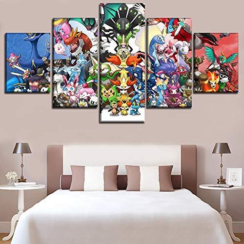 HD Gedruckt Malerei Wandkunst Dekor Modulare Bild Für Jungen Zimmer 5 Panel Animation Pokemon Elfen Poster Dekor Framework-30X40_30X60_30X80cm_Frame ()