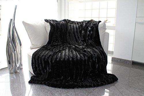 Brandsseller Pelzimitatdecke, schwarz, in schwerer doppellagiger Qualität, Hochwertige...