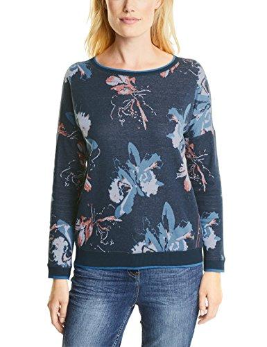 CECIL Damen Sweatshirt KEY_Brushed Jacquard Flower, Blau (Deep Blue 30128), XX-Large -