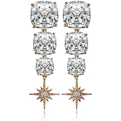 ZWX Moda coreana zircone orecchini Silver Needle/ Orecchini con frange di sole/ Orecchini lunghi del (Pietra Amethyst Silver Ring)