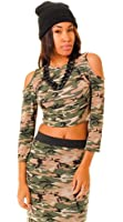 NEW WOMENS ARMY TOP ARMY CAMOUFLAGE CUT SHOULDER CROP TOP SHORT SLEEVE CROP UK 8-14