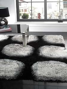 "XLarge Soft Silky Luxurious Shaggy Quality Rug in Black Silver White 160 x 230 cm (5'3"" x 7'7"") Carpet"