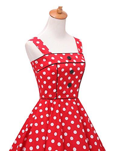 VKStar® 50er Rockabilly Kariert Kleid Petticoat Vintage ärmellos Kirschen Abendkleid Rot S - 3