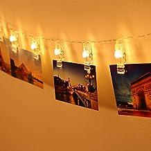 Gledto 2m 20 LED Foto Clip Bianco Caldo Molletta Impermeabile Luce Strisce Luce della Stringa Chiara Stella Alimentata a Batteria per Giardini Casa Matrimonio Festa di Natale Compleanno