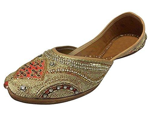 Schritt N Style indischen Schuhe Khussa jutti Brautschmuck Schuhe Salwar Suit Traditional Sandalen, Goldfarben/Rot - Größe: 42 (Indische Suit Styles)