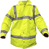 High Viz Visibility Highway Jacket Yellow Reflector waterproof XL Extra Large