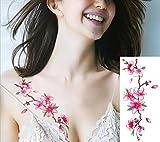 EROSPA® Tattoo-Bogen temporär - Blütenzweig - Pink Weiß Grün Braun - 19 x 9 cm