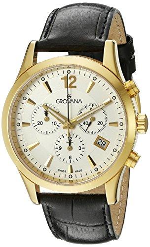 GROVANA - 1209.9512 - Montre Homme - Quartz - Chronographe - Chronographe - Bracelet Cuir Noir