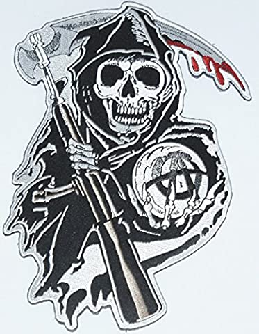 Sons Of Anarchy Grim Reaper Logo Biker Embroidered Iron On Applique Patch For Biker Jackets(full size jacket back patch, size approx 26cm x 17cm). Sold by deal from home, next day delivery, sent from