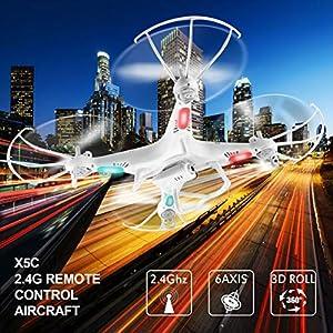 Fantasyworld Syma X5c 2.4G 6 Ejes girocompás RC Aviones Quadcopter Aviones no tripulados UAV RTF OVNI con 2MP HD de la cámara del Viento Resistencia Aviones no tripulados