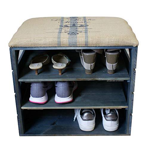 Scarpiera (blu petrolio) - ottima, organizer per scarpe in legno vintage, deposito, armadietto, panca di sostegno, con seduta morbida, adatta per l'ingresso e il corridoio. legno nordico solido - liza - 51 x 45 x 36 cm (blu rigato)