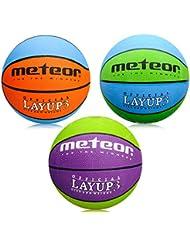 meteor Ballon de Basket Basketball Extérieur et Intérieur Surface Rugueuse Asphalte Granuleuse Mixte Couleur Enfant Jeunesse Doux et Bouncy Taille 3 Idéal pour Formation/Doux Basket-Ball Layup 3
