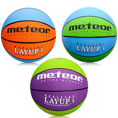 3 to 10 Years Perfect for Training Soft Basketball With Non-Slip Surface Indoor Outdoor size #3 meteor Basketball Size 3 Layup Children Kids Youth Mini Basket ball Size 3 Ideal For Gift