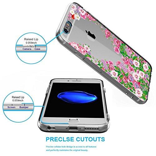 Cover iPhone 6,Cover iPhone 6s,NNIUK iPhone 6 Caso trasparente TPU gomma della pelle [anti-graffio] Ultra-sottile coperchio di protezione goccia per iPhone 6 / 6S, 4.7 inch Flowers