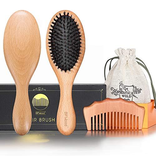 BFWood Brosse Cheveux Pure Soie de Sanglier et Peigne pour Cheveux Fins