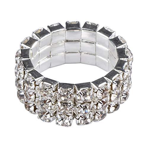 barer Ring mit drei Reihen aus Strass-Steinchen passt an jedem Finger ()