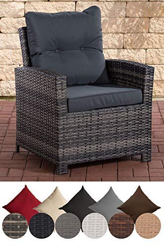 CLP Polyrattan-Sessel FISOLO inklusive Sitzkissen I Robuster Gartenstuhl mit einem Untergestell aus Aluminium I erhältlich Grau Meliert, eisengrau