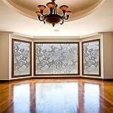 HUOXIAO Fensterfolien Feder Milchglasfolie,3D Glueless Elektrostatische Glasfolie PVC Matt Reines Weißes Licht Transparentes Fenster Bad Trennwand Anti-UV,90X200cm(35.43X78.74In)