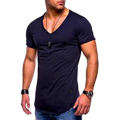 V-Ausschnitt T-Shirt Männer T-Shirt Slim Fit Kurzarm Baumwolle Casual Tops Bluse Muscle Shirts GreatestPAK,Schwarz,L