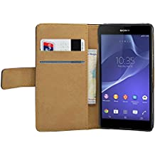 Membrane - Negro Cartera Funda Carcasa para Sony Xperia T3 ( LTE, D5103, D5106, D5102 ) - Wallet Case Cover + 2 protectores de pantalla