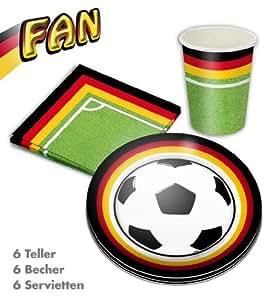 Party-Paket FAN, 18 teilig, (6 Teller, 6 Becher, 6 Servietten), Deutschland, Fußball, Partygeschirr, FanartikelWM, EM