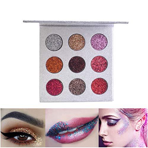 Paillettes Brillantes Fard à PaupièRes Palette De 9 Couleurs Poudre Miroitante Maquillage CosméTique Beauté LEEDY