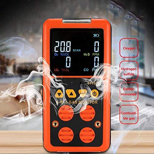 Propan- und Erdgas-Lecksucher 4 in 1-Gasdetektoren LCD-Display mit Hintergrundbeleuchtung Tragbarer CO H2S O₂-UEG-Sensor Tester Lecksucher für brennbare Gase