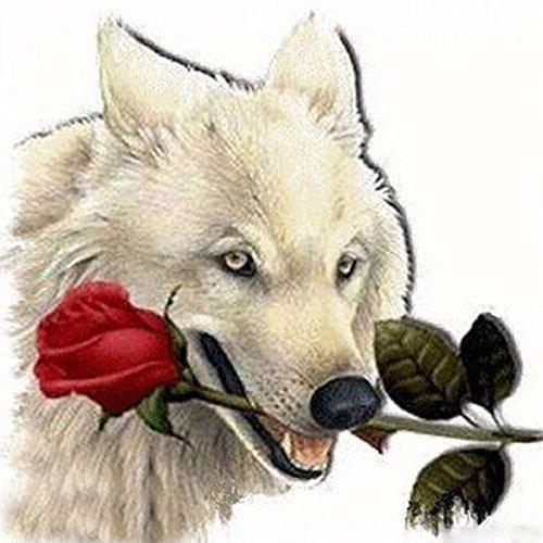 ENGKUNZHE 5DDIY Mosaik Wolf Biss Rose Runde Diamant Stick Diamant Stickerei Kreuzstich Kit Diamant Malerei -