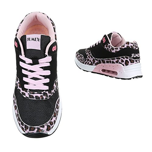 Low-Top Sneaker Damenschuhe Low-Top Sneakers Schnürsenkel Ital-Design Freizeitschuhe Schwarz Rosa